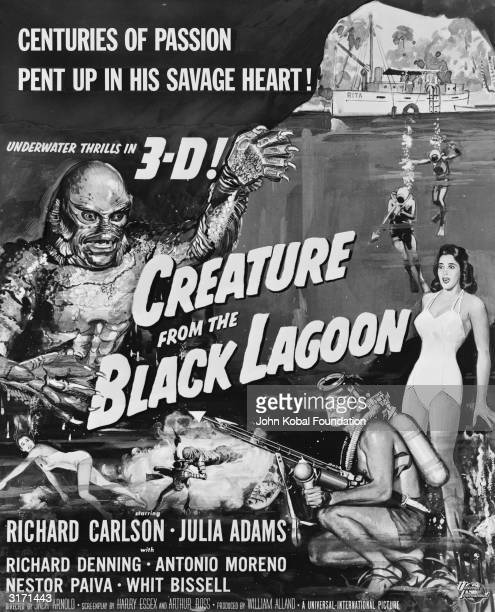 A scaly creature with webbed and clawed hands scuba divers armed with harpoons and a yacht are on a 'window card' advertising the 3D film 'Creature...