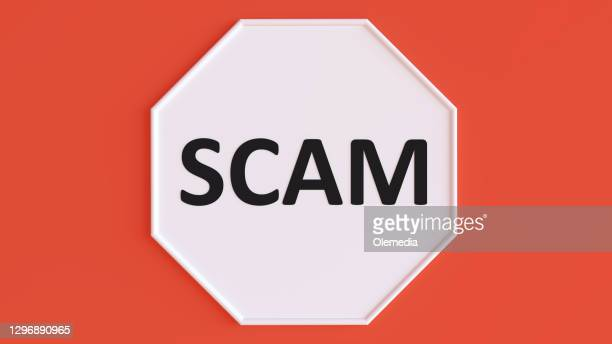 scam sign 3d concept - scammer stock pictures, royalty-free photos & images