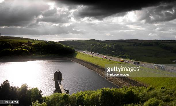 Scammonden Resevoir, West Yorkshire, 2011. General view showing the resevoir and its dam carrying the M62 motorway.