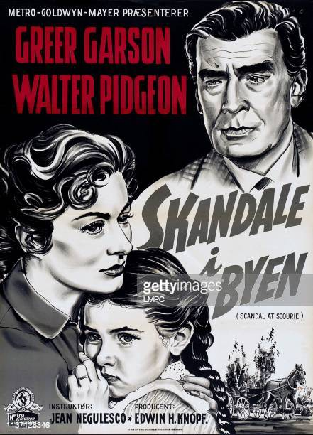 Scandal At Scourie poster Danish poster art from left Greer Garson Donna Corcoran Walter Pidgeon 1953