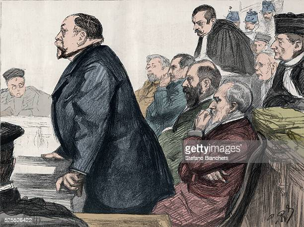 the trial and the judgment of the directors of the Panama Canal Company on February 8 1893 at the palais de Justice From left to right Charles de...