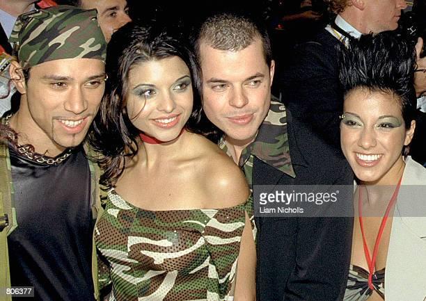 Scandal'us members Daniela Scala Anna Belperio Simon Ditcham Jason Bird attend the TV Week Logie Awards April 22 2001 at the Crown Casino...