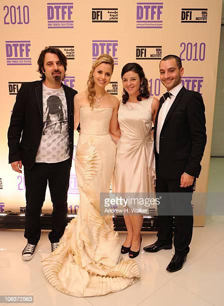 Scandar Copti Executive Director of the Doha Tribeca Film Festival Amanda Palmer Doha Tribeca Film Festival coprogrammer Hania Mroue and Doha Tribeca...