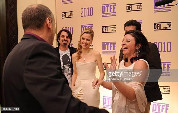 Scandar Copti Executive Director of the Doha Tribeca Film Festival Amanda Palmer Doha Tribeca Film Festival coprogrammer Hania Mroue and attend the...