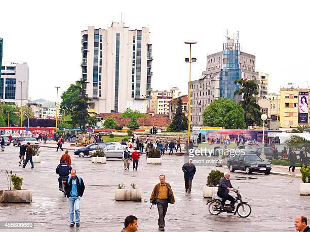 scanderbeg square - tirana stock pictures, royalty-free photos & images