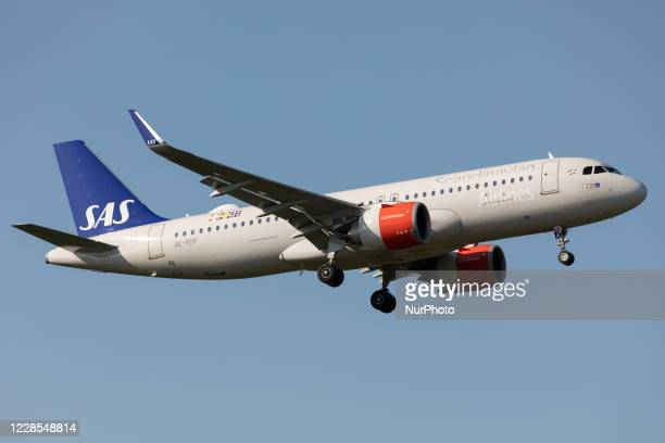 Scandinavia Airbus A320 lands at London Heathrow Airport, England on Monday 14th September 2020.