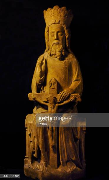 Scandinavia Christian carving Holy Trinity Alabaster sculpture Homnes Beitstad NordTrondelag 1400 Historical Museum Oslo Norway