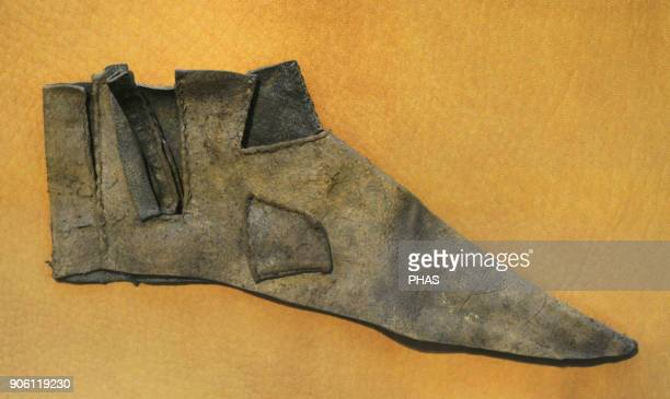 Scandinavia. Middle ages. Upper of a shoe, ca. 1200 to be laced on the side. Historical Museum, Oslo, Norway.