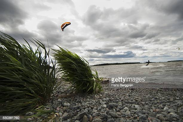 Scandinavia, Sweden, Man kiteboarding