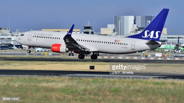 ln-rgb sas scandinavian airlines boeing 737-800 - boeing stock pictures, royalty-free photos & images