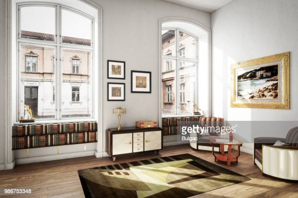 scandinavian art deco home interior - carpet decor stock photos and pictures
