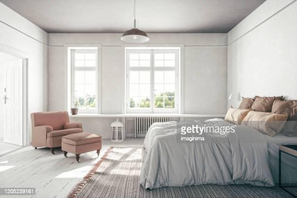 scandinavian bedroom interior - bedroom stock pictures, royalty-free photos & images