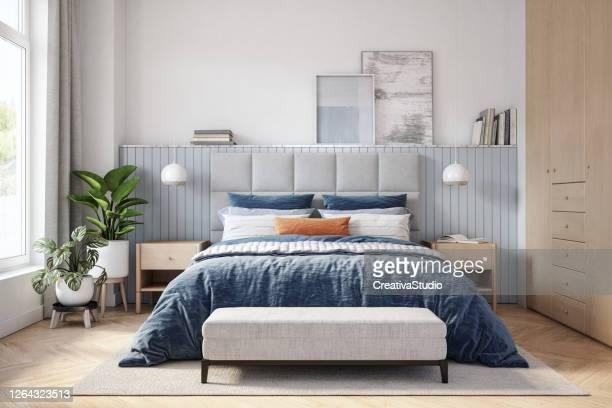 scandinavian bedroom interior - stock photo - bedroom stock pictures, royalty-free photos & images