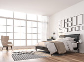 Scandinavian bedroom with large window 3d render