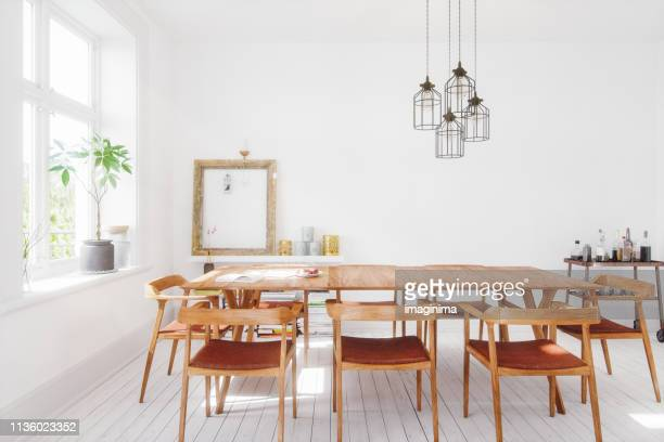scandinavian design dining room interior - indoors stock pictures, royalty-free photos & images