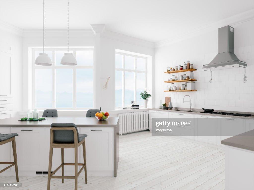 Scandinavian Design Minimalist Kitchen Interior : Stock Photo