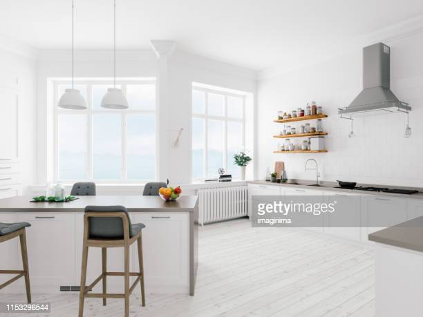 scandinavian design minimalist kitchen interior - dining room stock pictures, royalty-free photos & images