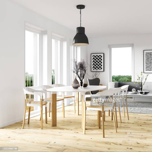 scandinavian dining room interior - dining room stock pictures, royalty-free photos & images