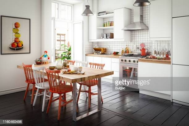scandinavian domestic kitchen and dining room - traditionally scandinavian stock pictures, royalty-free photos & images