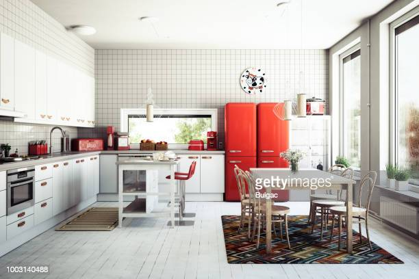 scandinavian domestic kitchen - sala da pranzo foto e immagini stock