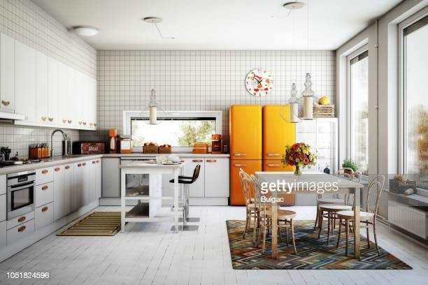 scandinavian domestic kitchen - european culture stock pictures, royalty-free photos & images