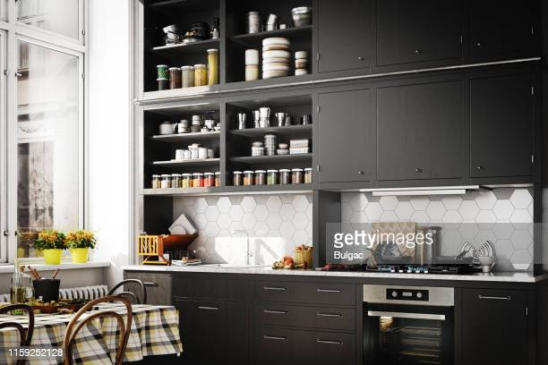 scandinavian domestic kitchen - domestic kitchen stock pictures, royalty-free photos & images