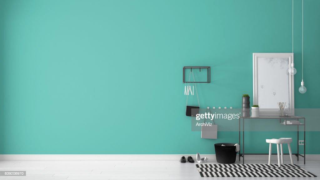 Scandinavische lobbyinkomhal met tabel kruk tapijt en spiegel