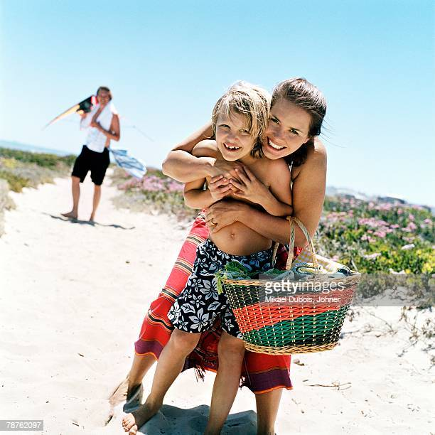 Scandinavian family on their way to the beach Sweden.