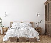 Scandinavian farmhouse bedroom interior, wall mockup