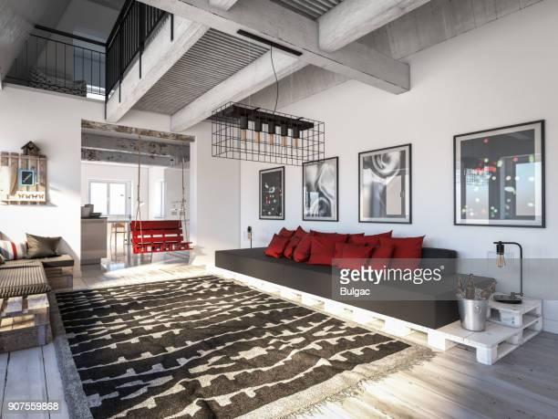scandinavian home interior scene - loft stock photos and pictures