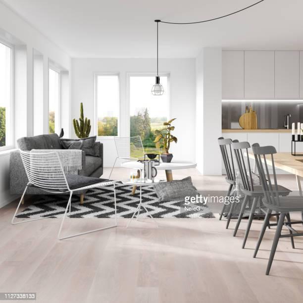 skandinavischen interieur - speisezimmer stock-fotos und bilder