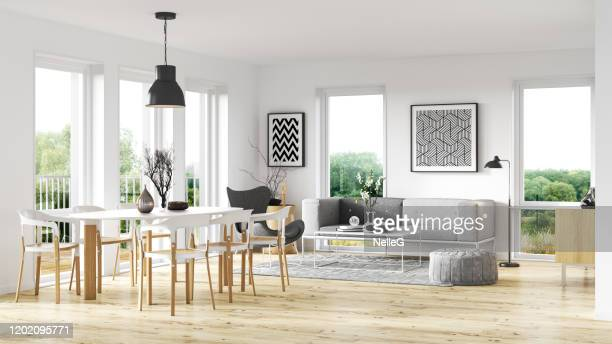 scandinavian interior style - dining room stock pictures, royalty-free photos & images