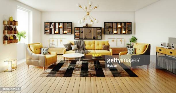 scandinavian living room - giallo foto e immagini stock