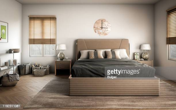 scandinavian master bedroom - wall clock stock pictures, royalty-free photos & images
