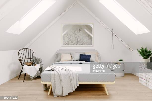 scandinavian style attic bedroom interior - camera da letto foto e immagini stock