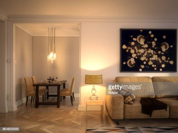 scandinavian style home interior - lamp stock photos and pictures