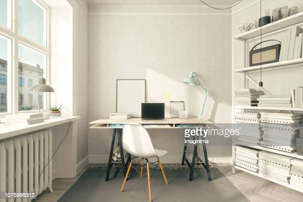 scandinavian style home office interior - home office stock pictures, royalty-free photos & images