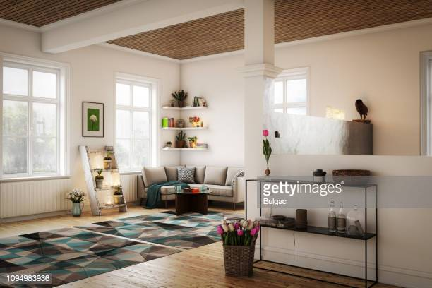 scandinavian style interior - rug stock pictures, royalty-free photos & images