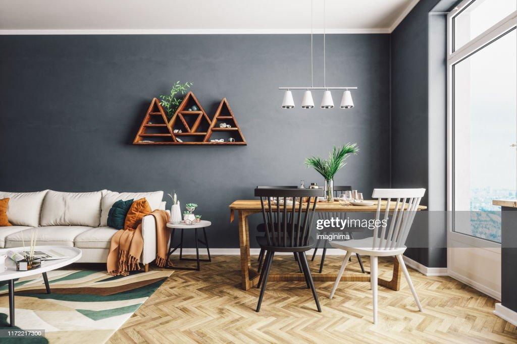 Skandinavischer Stil Wohn- und Esszimmer : Stock-Foto