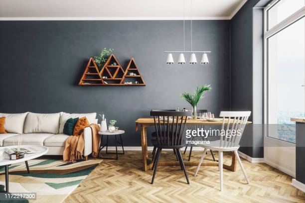 scandinavian style living and dining room - carpet decor stock pictures, royalty-free photos & images