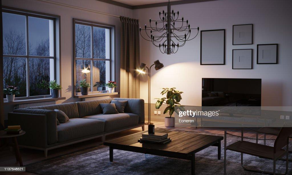 Skandinavisches Stil-Wohnzimmer im Abend : Stock-Foto