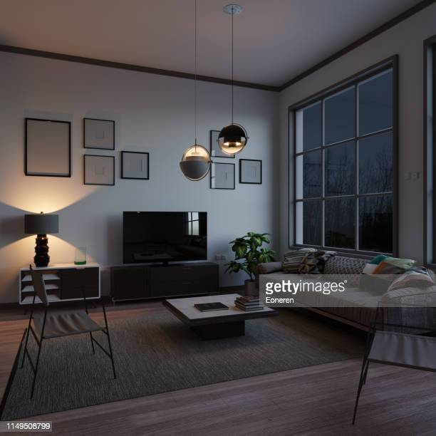 skandinavisches stil-wohnzimmer im abend - night stock-fotos und bilder