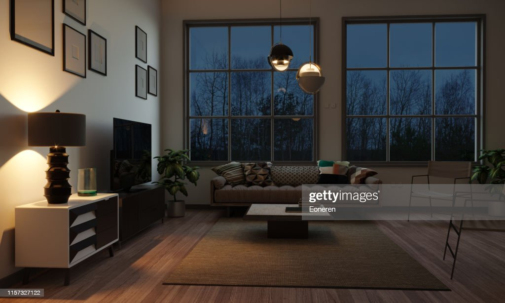 Scandinavian Style Living Room In The Evening : Stock Photo