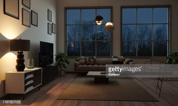 scandinavian style living room in the evening - living room stock pictures, royalty-free photos & images
