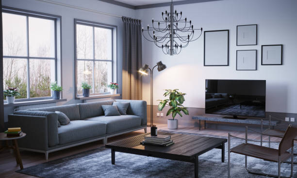 scandinavian style living room interior - indoors stock pictures, royalty-free photos & images