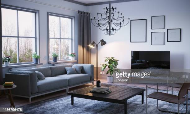 scandinavian style living room interior - carpet decor stock pictures, royalty-free photos & images