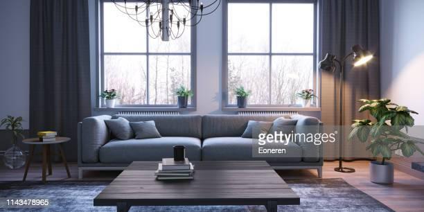 skandinavischer stil wohnzimmer interieur - couchtisch stock-fotos und bilder