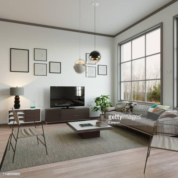 interior escandinavo da sala de visitas do estilo - simplicidade - fotografias e filmes do acervo