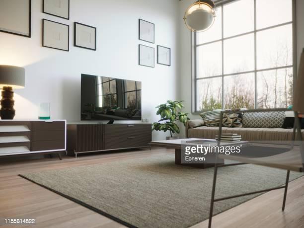 scandinavian style living room interior - carpete imagens e fotografias de stock