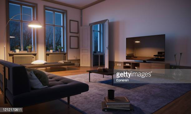 scandinavian style living room interior - living room stock pictures, royalty-free photos & images